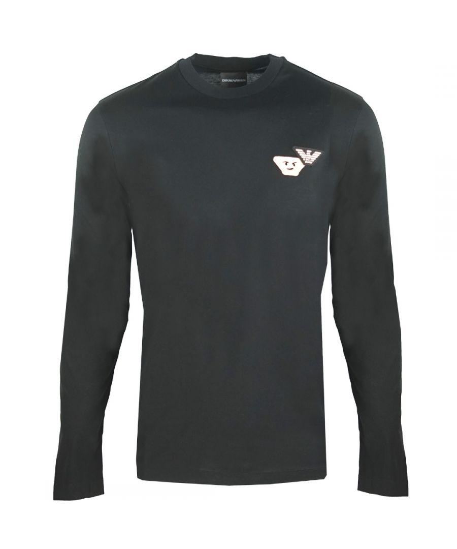 Image for Emporio Armani Emoji Logo Black Long Sleeved T-Shirt