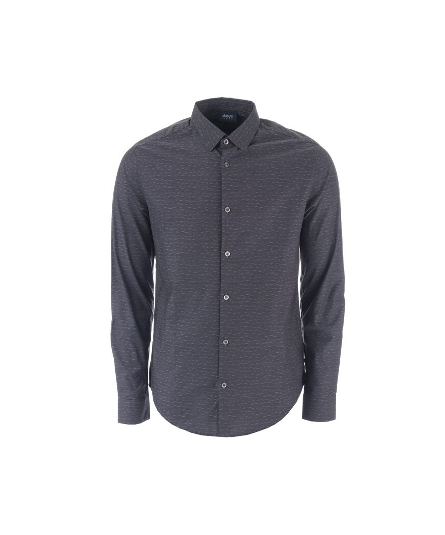 Image for Men's Armani Small Logo Long Sleeved Shirt in Grey