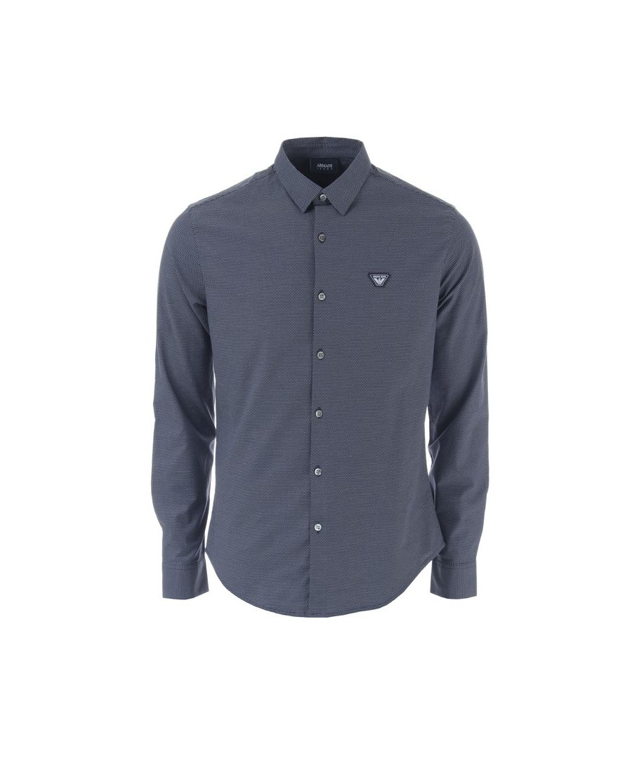 Image for Men's Armani Small Logo Long Sleeve Shirt in Blue-White