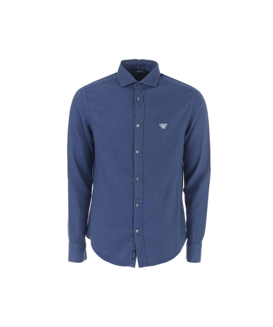 Image for Men's Armani Small Logo Long Sleeve Shirt in Dark Blue