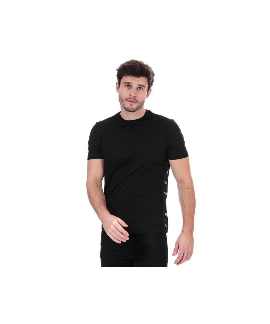 Image for Men's Armani Side Tape T-Shirt in Black