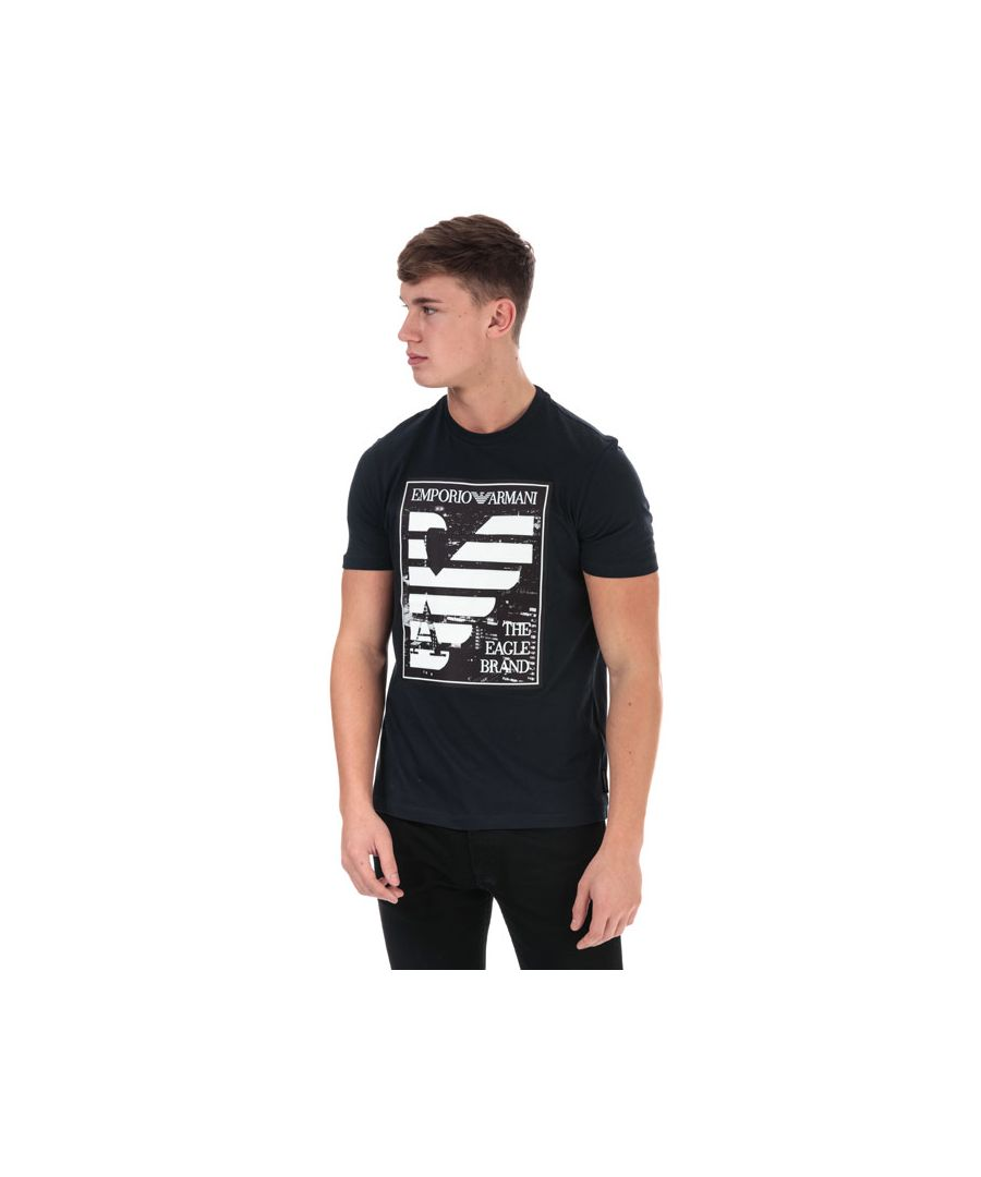 Image for Men's Armani Panel Eagle T-Shirt in Navy