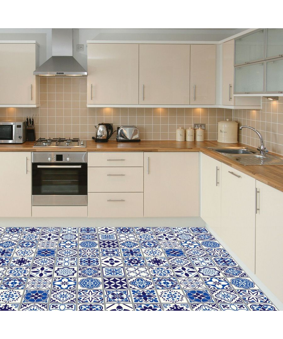 Image for WFS6001 - Spanish and Moroccan Blue Tiles Floor Stickers 120cm x 60 cm