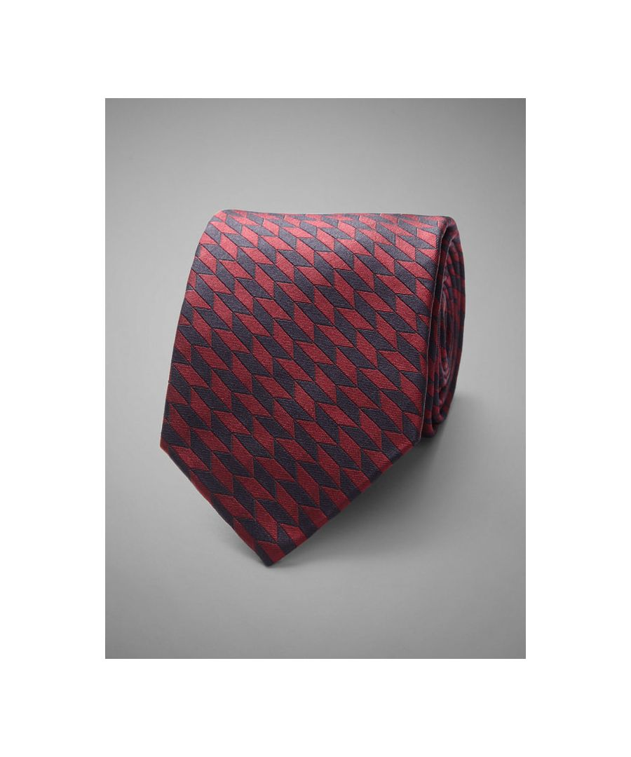 Image for Geometric Woven Silk Tie