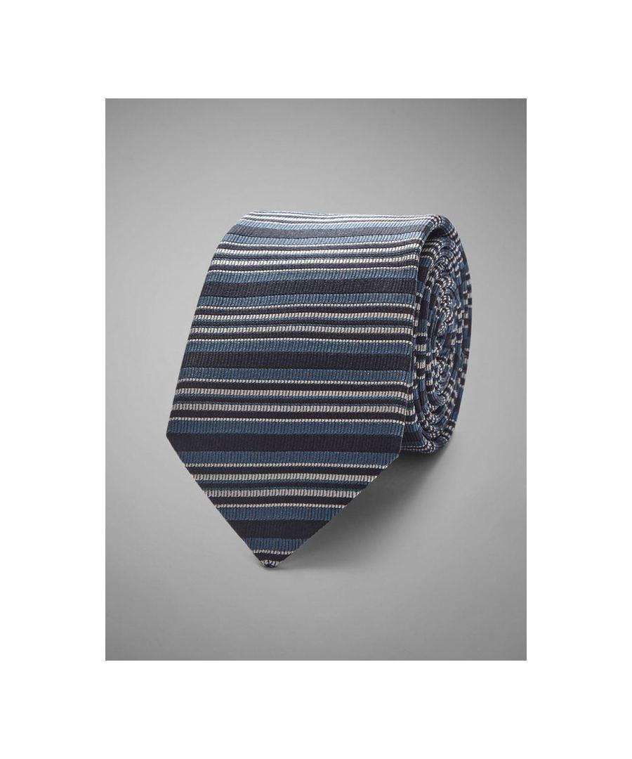 Image for Slim Horizontal Stripe Woven Tie