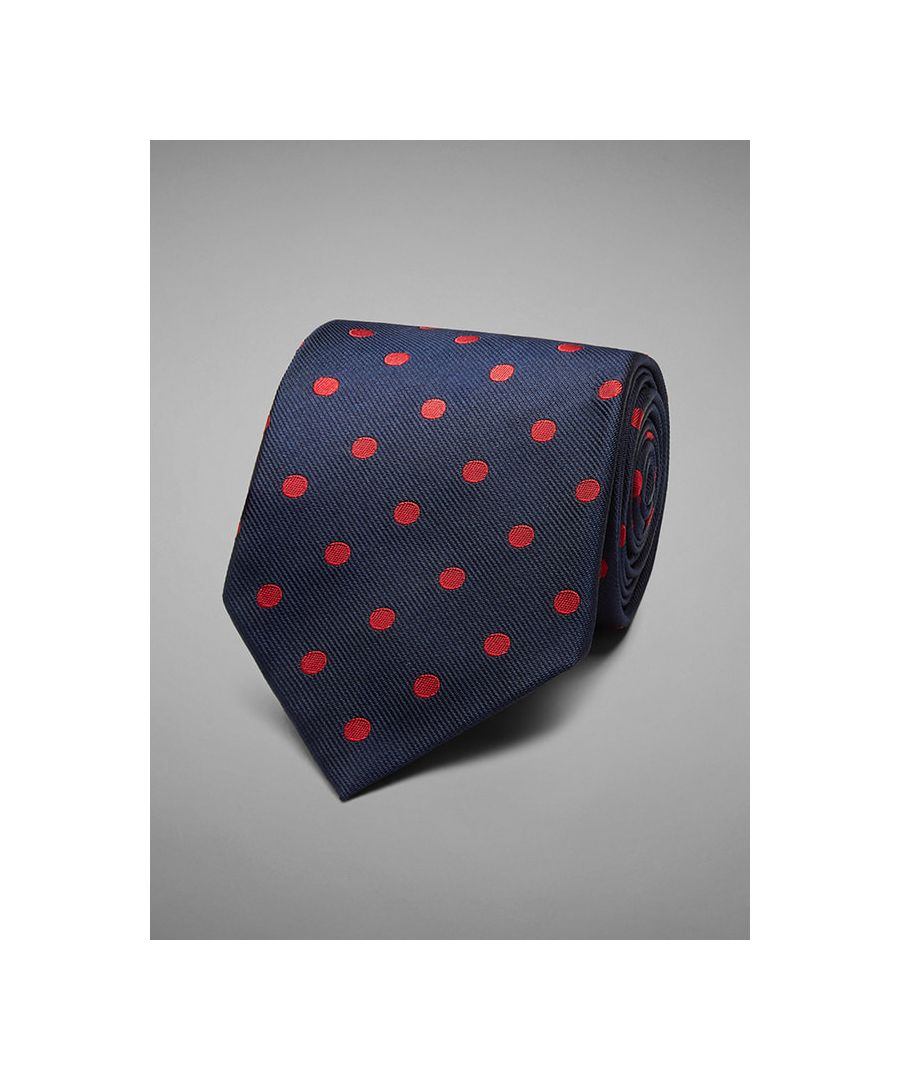 Image for Large Polka Dot Woven Silk Tie