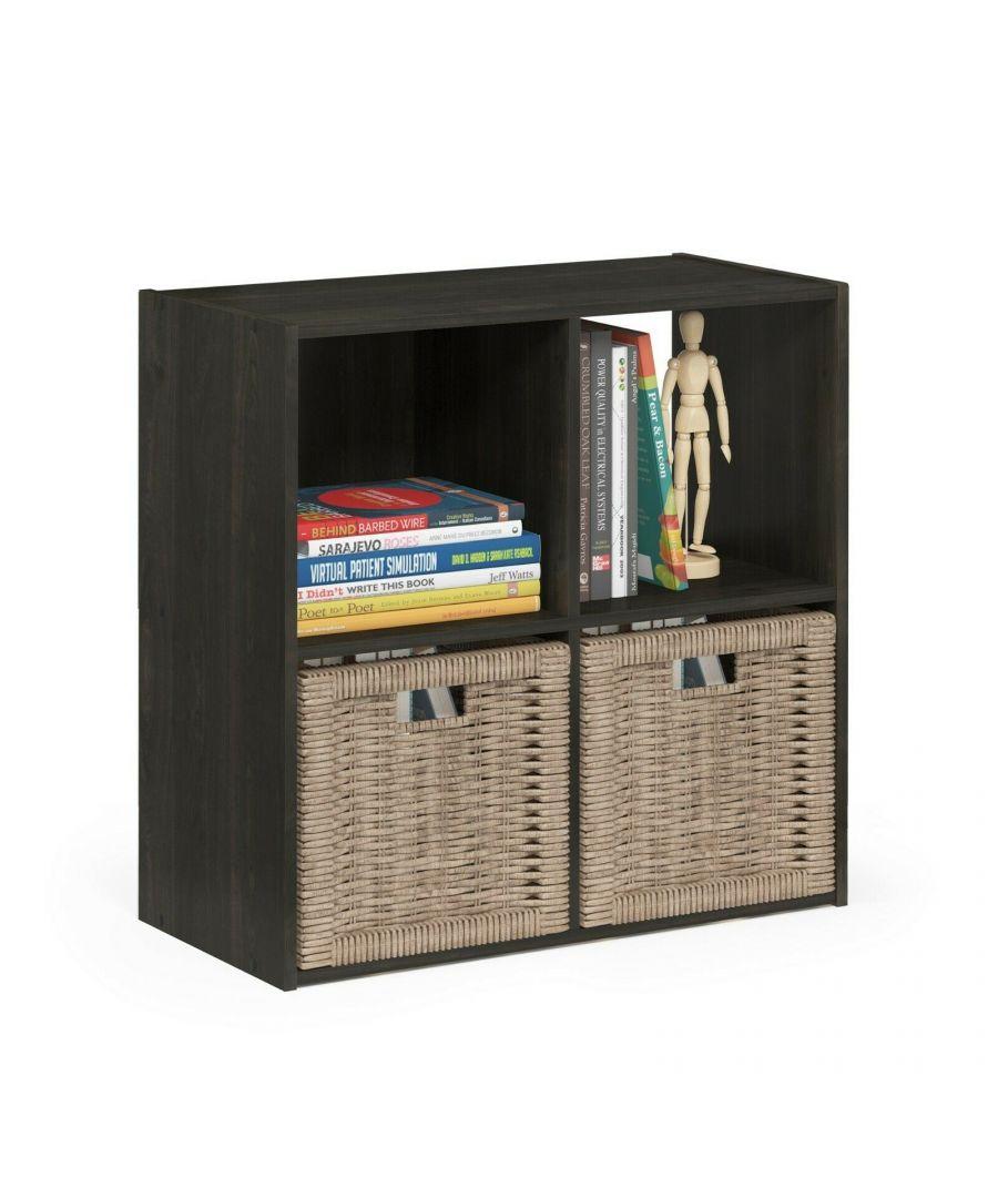Image for Furinno Pelli Cubic Storage Cabinet, 2x2, Espresso