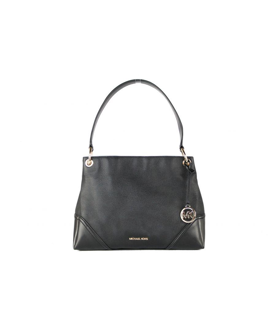 Image for Michael Kors Nicole Medium Leather Shoulder Handbag (Black Solid)