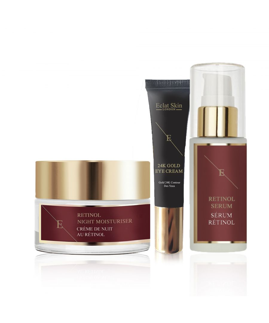 Image for Pro Retinol + Caviar Serum 60ml Retinol + Caviar Moisturiser 50ml + Under Eye Cream 24K Gold - 15ml