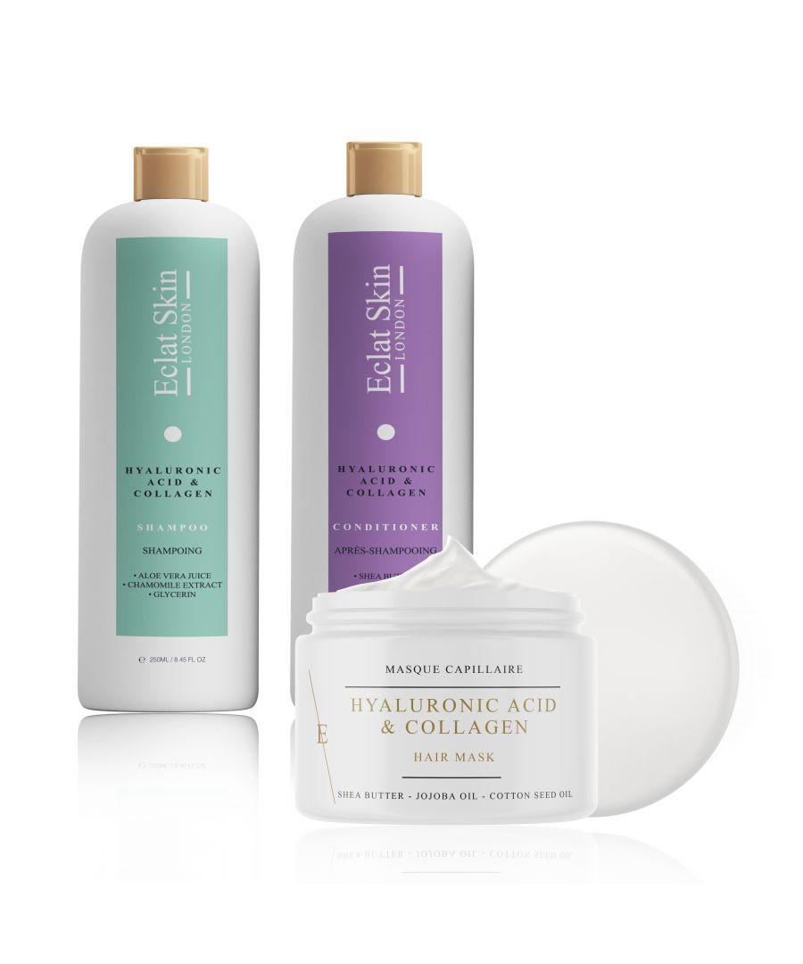 Image for Hyaluronic Acid + Collagen Shampoo 250ml + Hyaluronic Acid + Collagen Conditioner 250ml + Hyaluronic Acid + Collagen Miracle Hair Mask 500ml