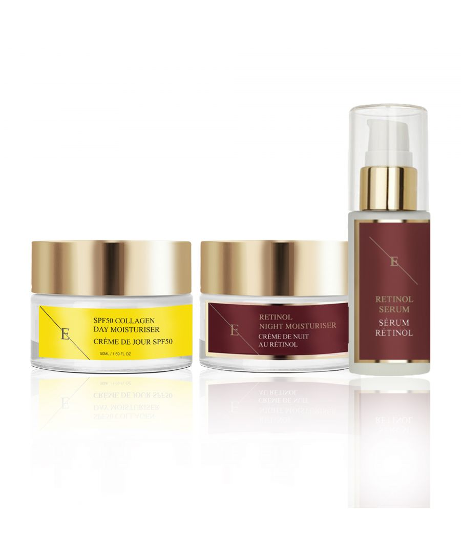 Image for Pro Retinol + Caviar Serum 30ml Retinol + Caviar Moisturiser 50ml+ SPF50 Collagen Day Cream 50ml