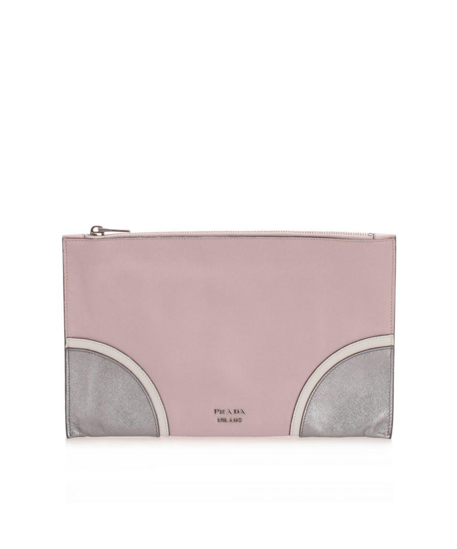 Image for Vintage Prada Saffiano Clutch Bag Pink