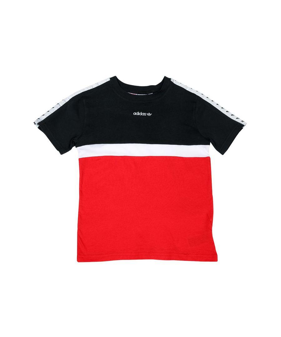 Image for Boys' adidas Originals Junior Colourblock Tape T-Shirt Black white red 13-14in Black white red