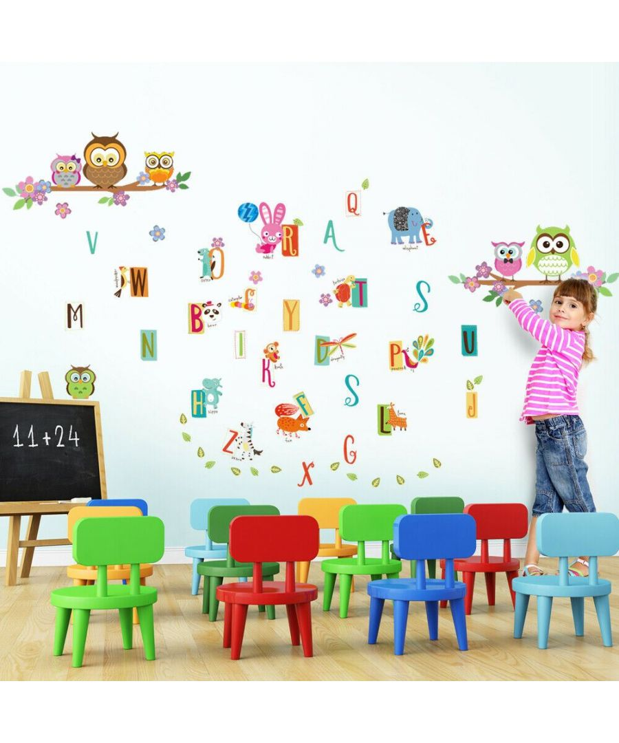 Image for Owl Flower Tree + France Design A to Z, kids bedroom, Peel and Stick, self-adhesive