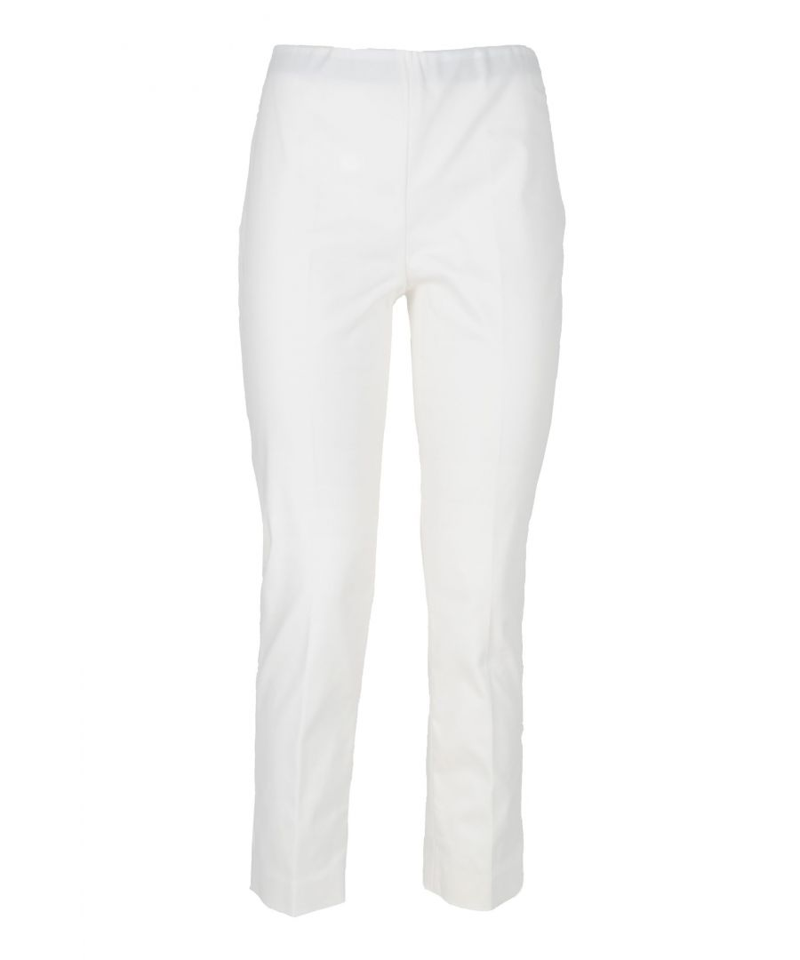 Image for LES COPAINS WOMEN'S 0L37830201 WHITE COTTON PANTS