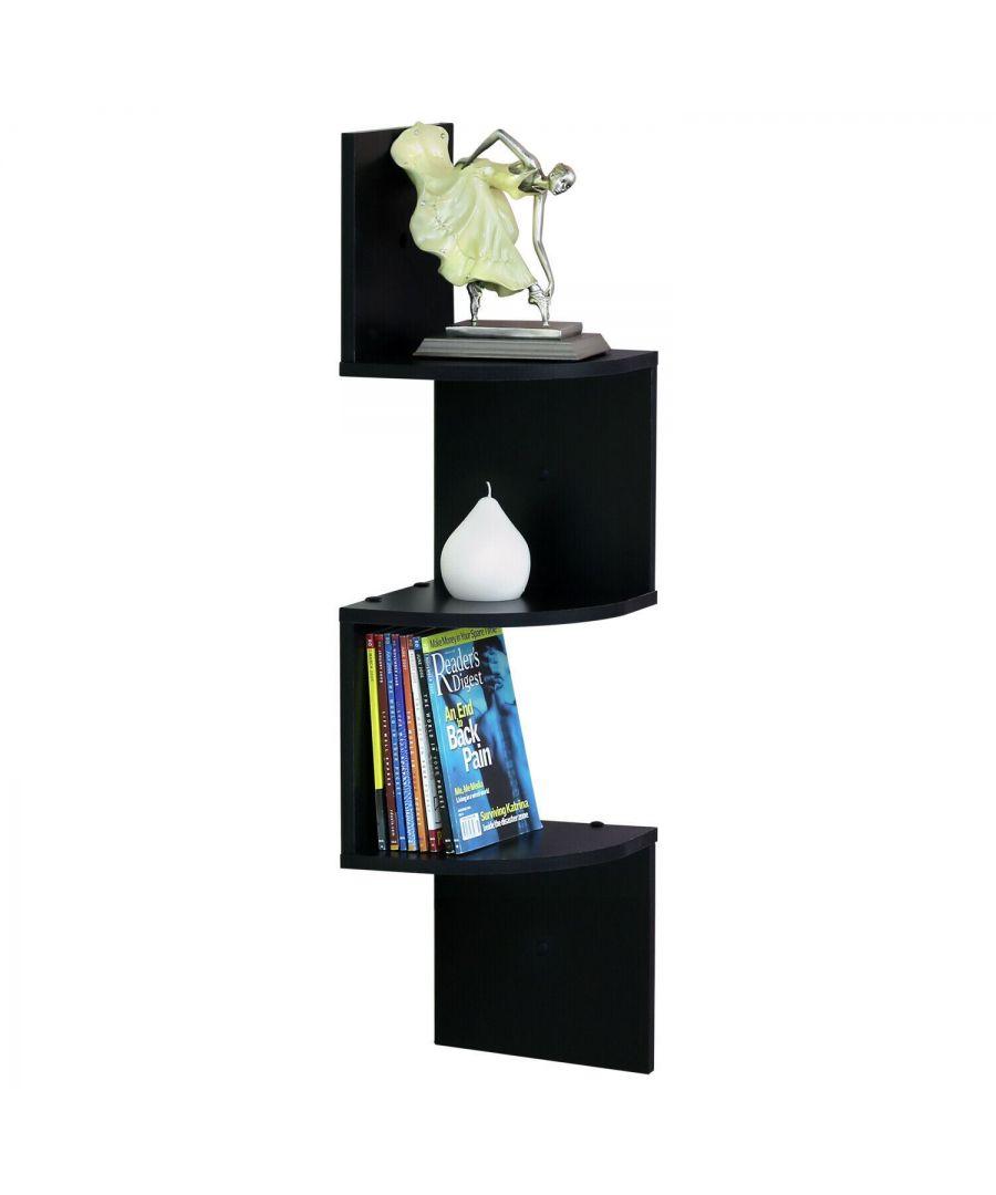 Image for Furinno 3 Tier Wall Mount Floating Corner Radial Shelf, Set of 2, Espresso