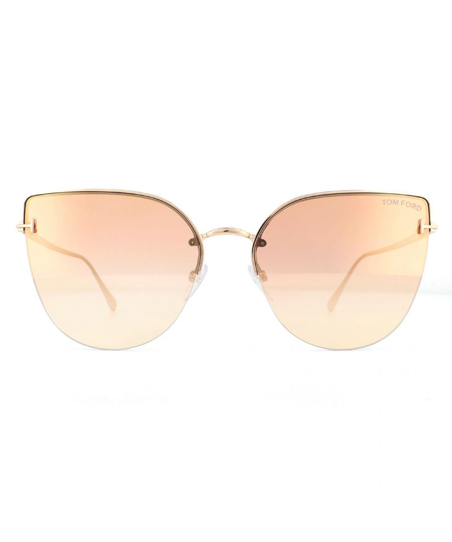 Image for Tom Ford Sunglasses Ingrid-02 FT0652 33Z Gold Pink Purple Gradient Mirror