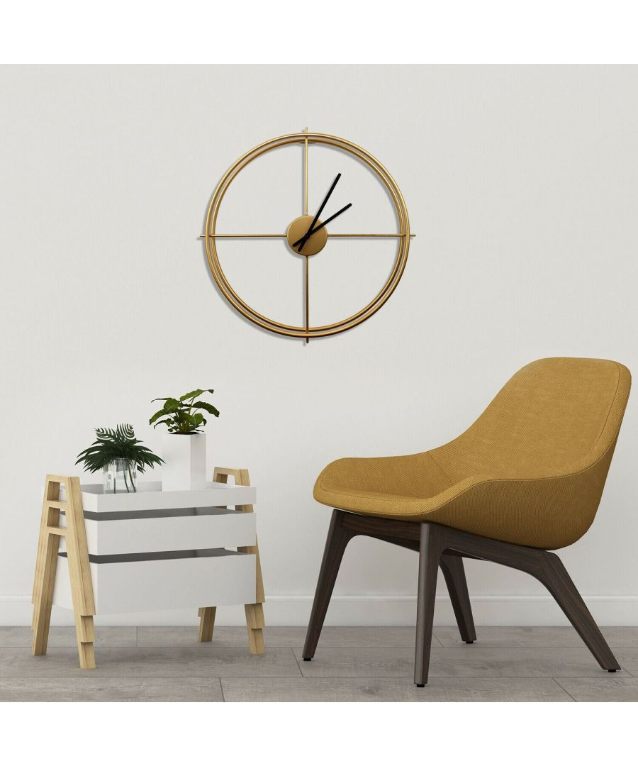 Image for Walplus Larry's Minimalist 50cm Iron Wall Clock (Gold) clock, Bedroom, Living room, Modern, Home office essential, Gift