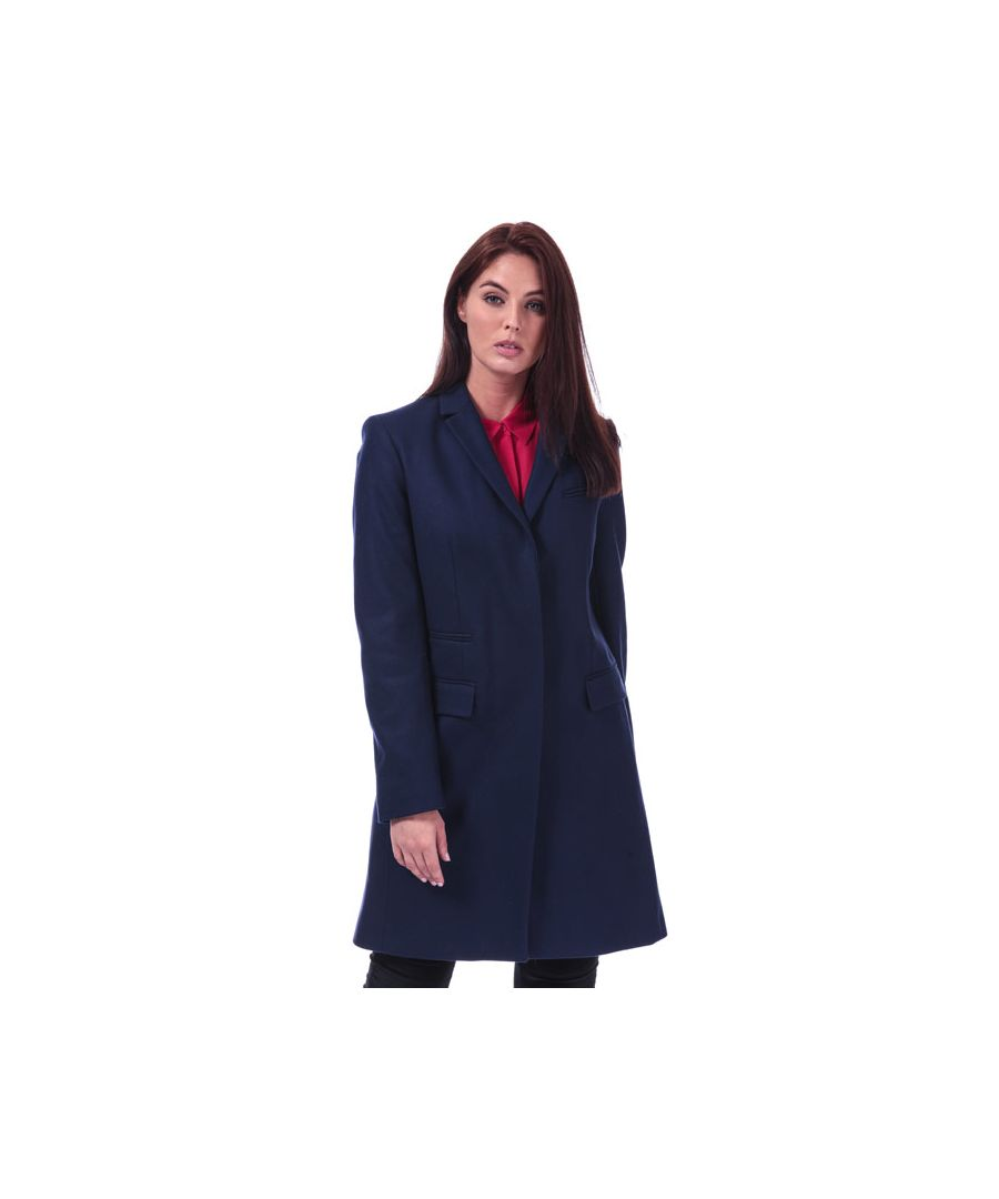 Image for Women's French Connection Platform Felt Smart Coat in Dark Blue