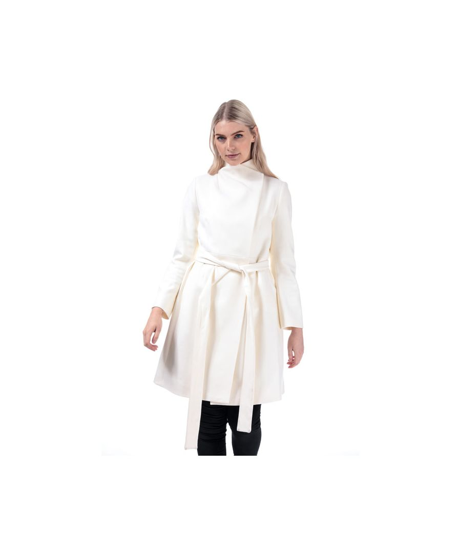 Image for Women's French Connection Platform Felt Belted Coat in Cream