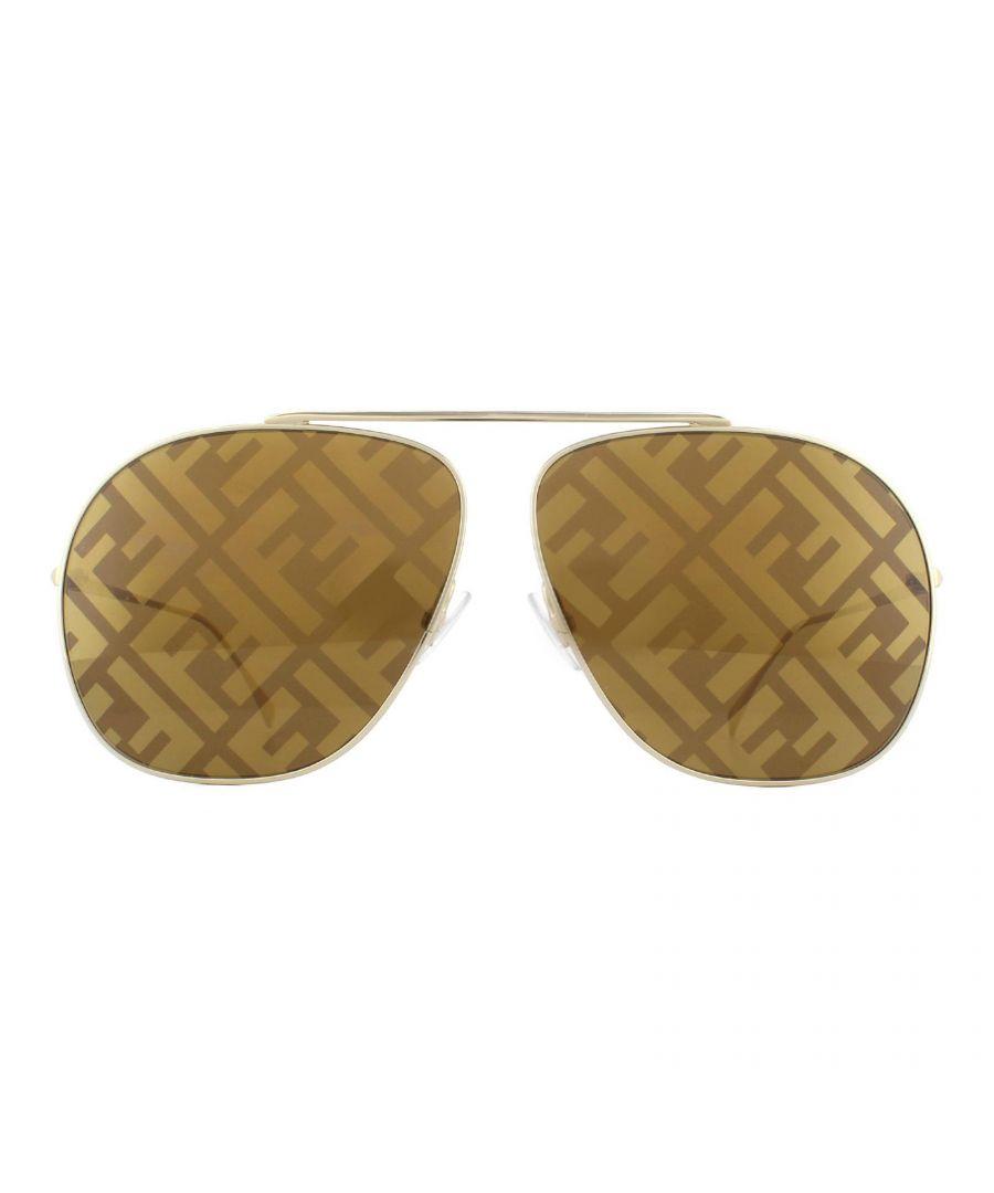 Image for Fendi Sunglasses FF 0407/G/S 01Q EB Gold Brown Brown Fendi Monogram