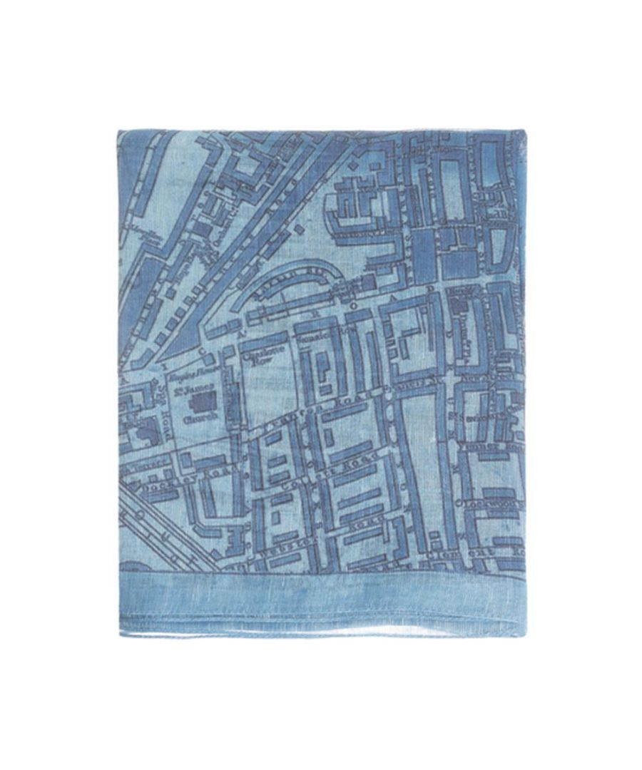 Image for Men's Hackett, Map Scarf in Blue