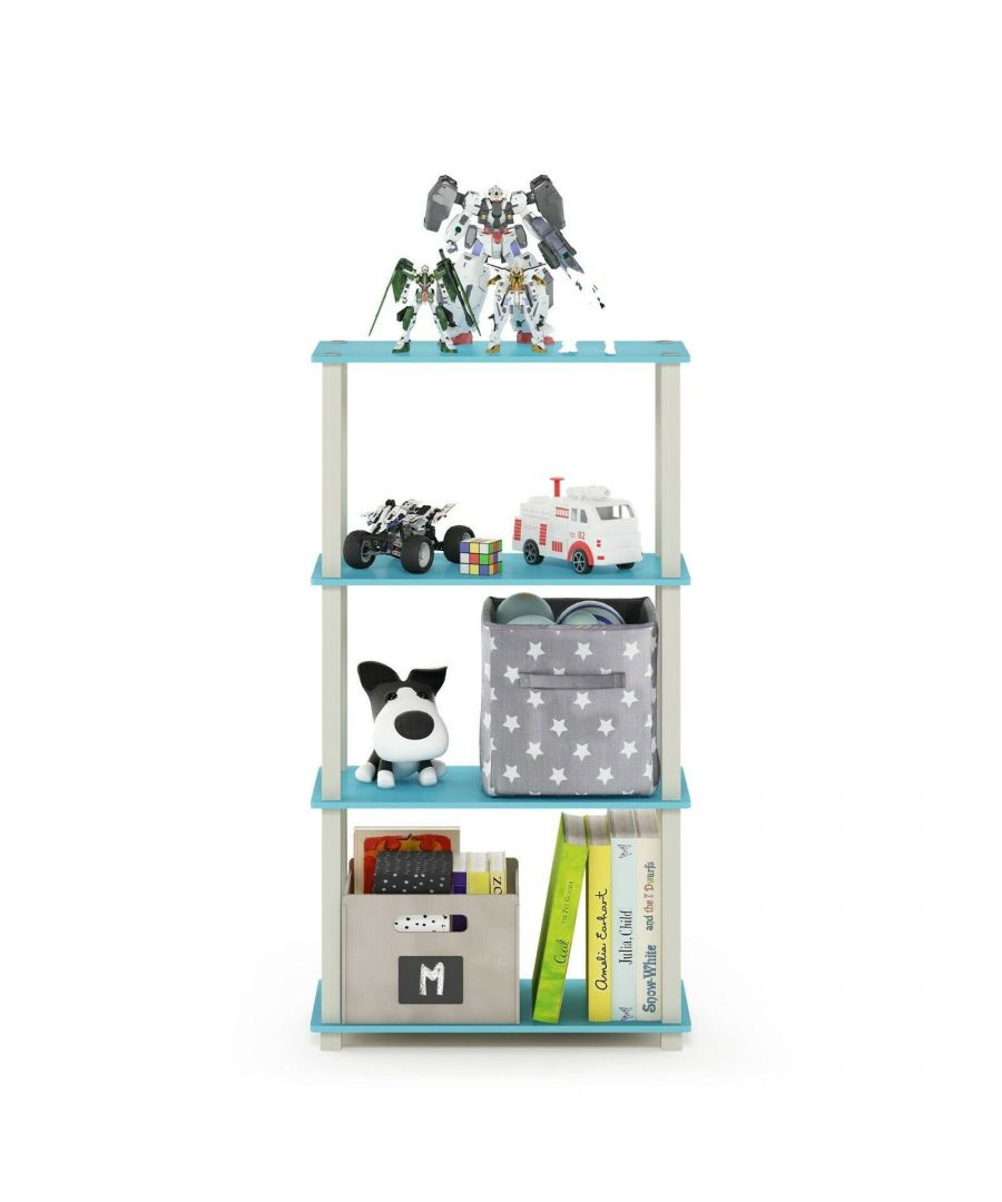 Image for Furinno Turn-S-Tube 4-Tier Multipurpose Shelf Display Rack with Square Tube