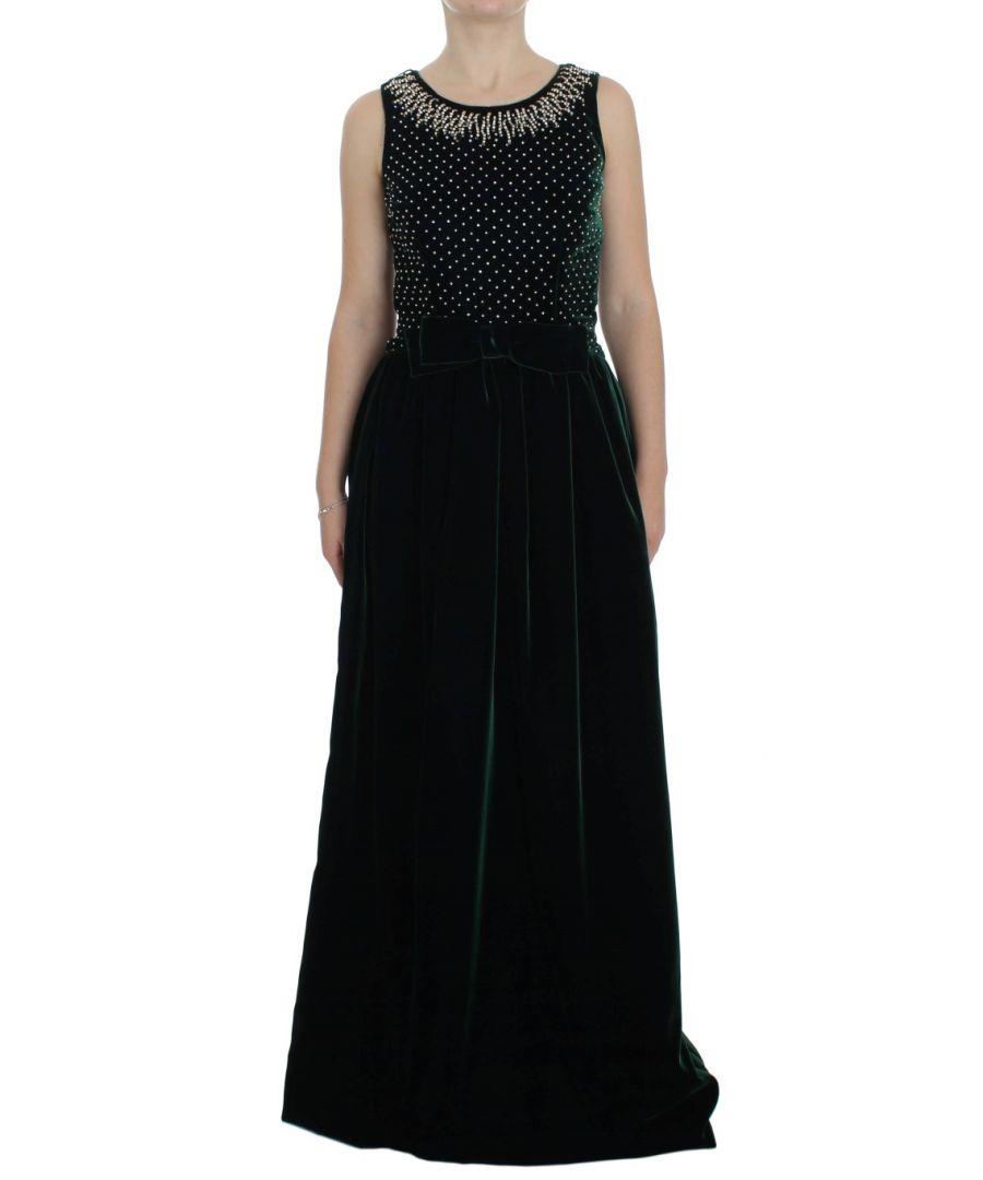 Image for Dolce & Gabbana Green Velvet Crystal Long Maxi Dress