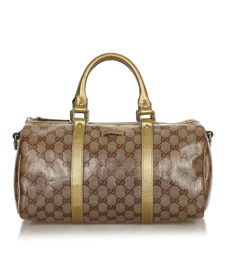 Image for Vintage Gucci GG Crystal Boston Bag Brown