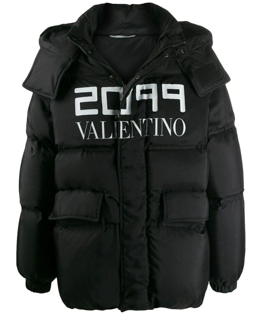 Image for VALENTINO MEN'S SV0CNA755NV0NR BLACK SILK DOWN JACKET
