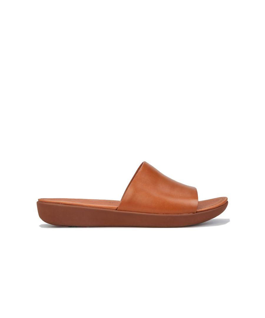 Image for Women's Fit Flop Sola Leather Slide Sandals in Camel