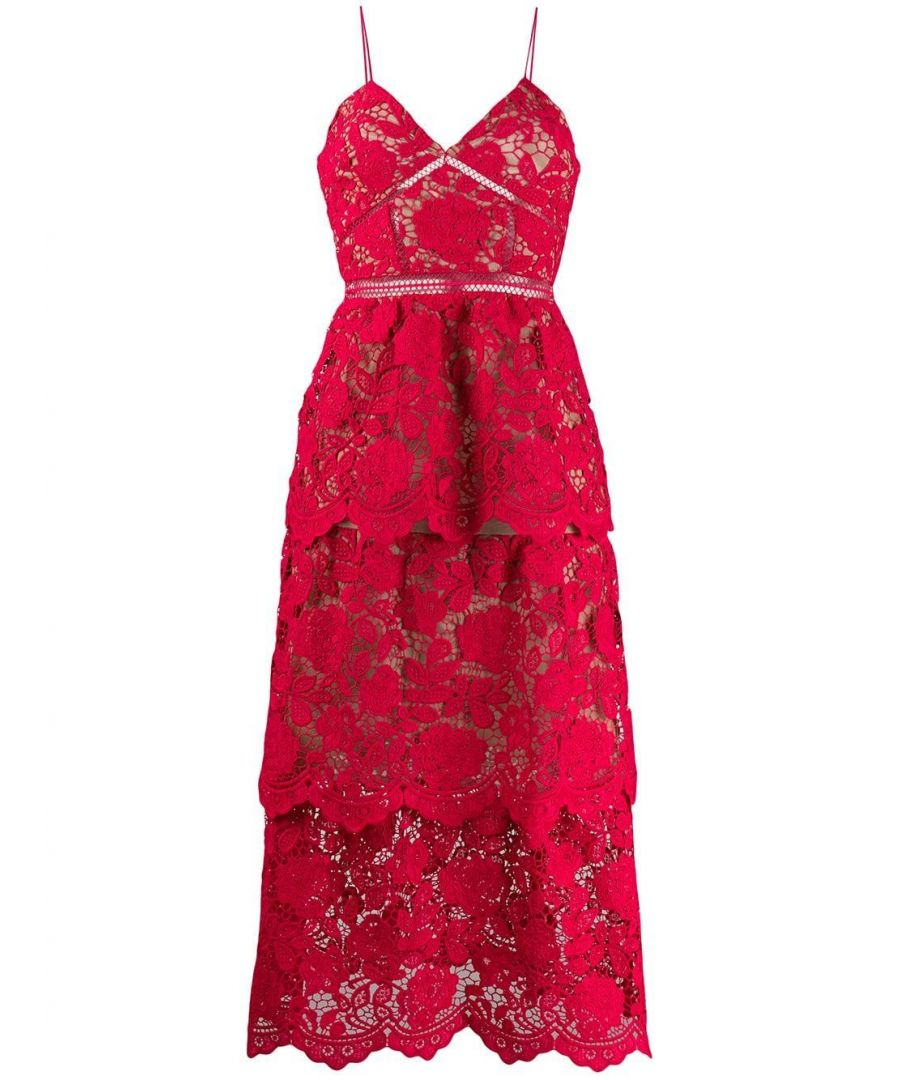 Image for SELF-PORTRAIT WOMEN'S RS20113FFUCHSIA RED POLYESTER DRESS