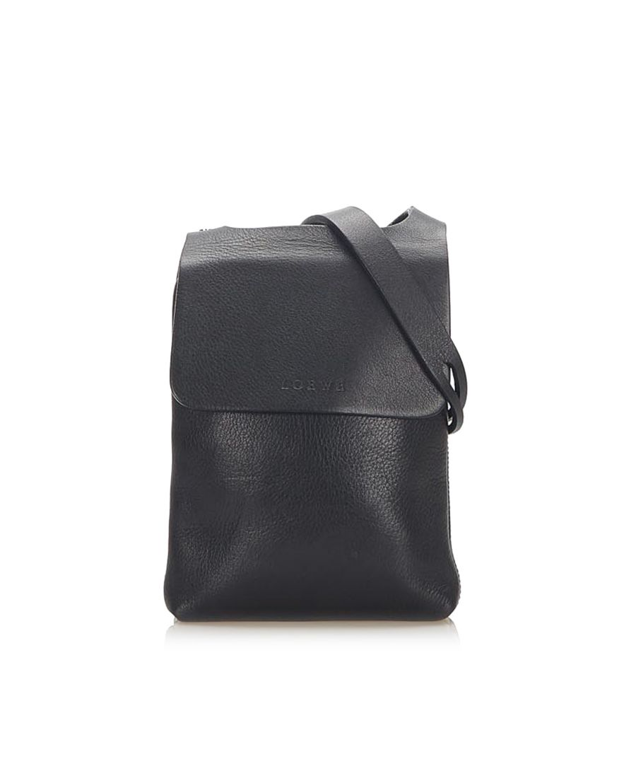 Image for Vintage Loewe Leather Crossbody Bag Black