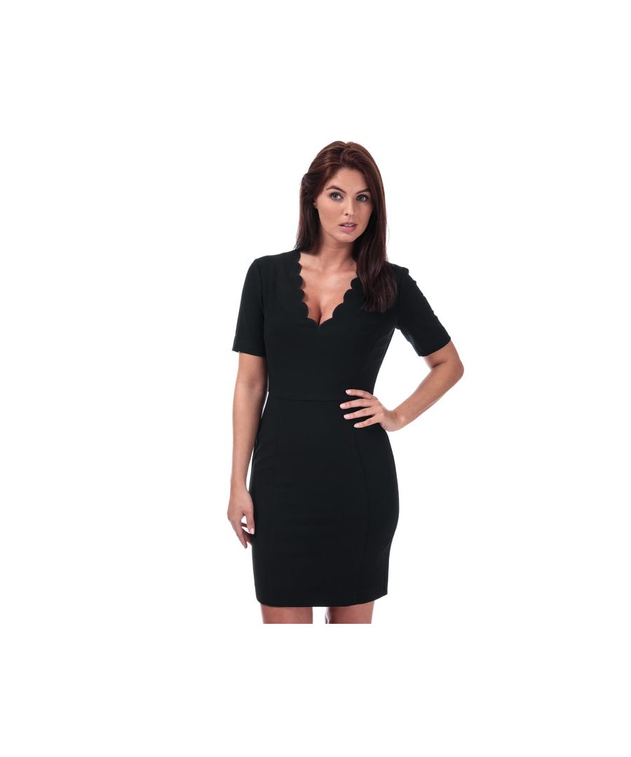 Image for Women's French Connection Whisper Ruth Scalloped Dress in Black