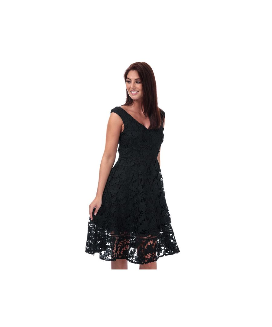 Image for Women's French Connection Blossom Lace Bardot Dress in Black