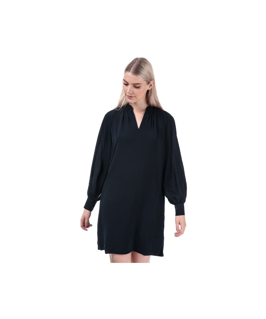 Image for Women's French Connection Mahi Crepe Solid Pop Over Dress in Dark Blue
