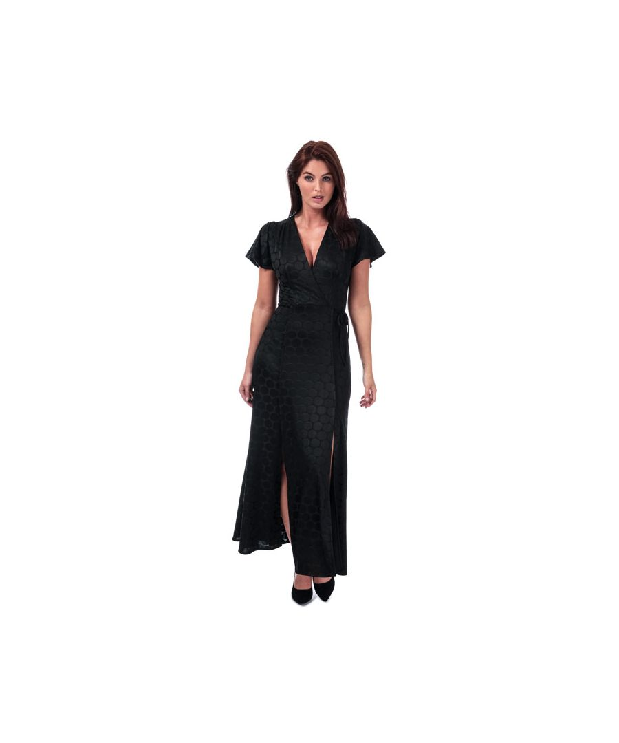 Image for Women's French Connection Kandi Polka Jacquard Wrap Maxi Dress in Black