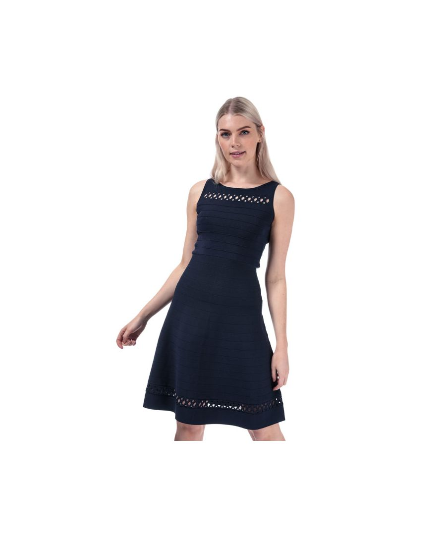 Image for Women's French Connection Kai Crepe Fit And Flare Dress in Dark Blue