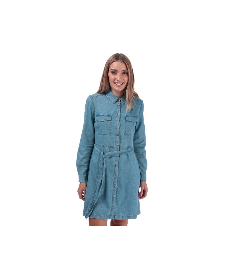 Image for Women's French Connection Avery Denim Belted Shirt Dress in Denim