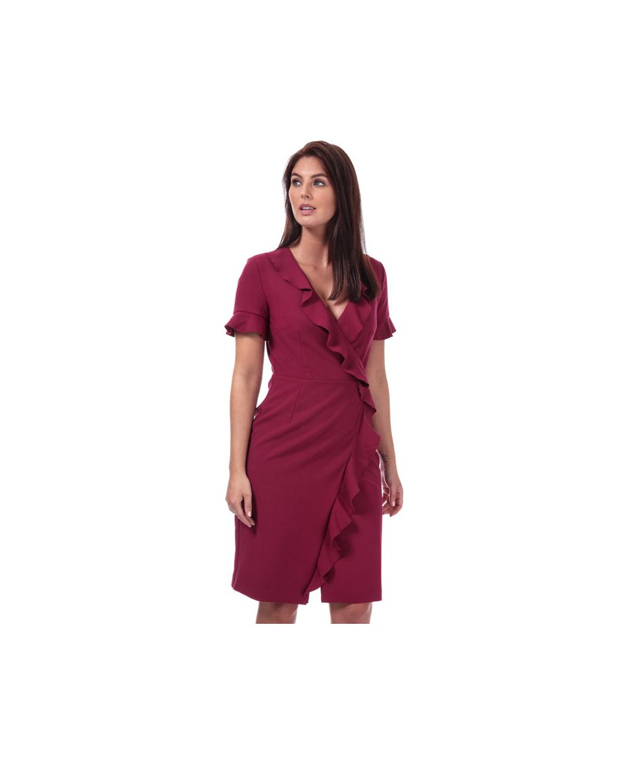Image for Women's French Connection Alianor Stretch V-Neck Frill Dress in Berry