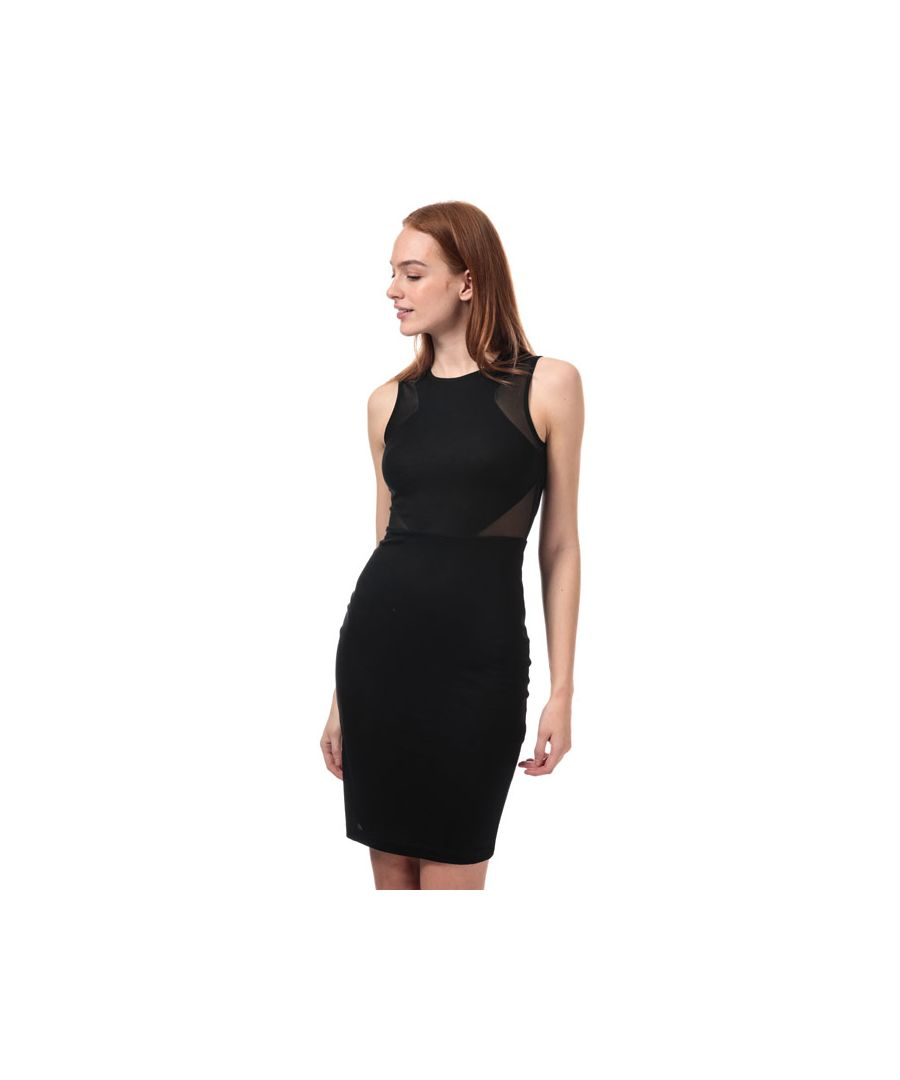 Image for Women's French Connection Manhattan Mesh Panelled Dress in Black