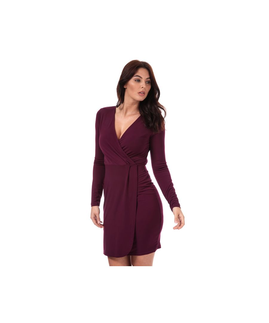 Image for Women's French Connection Long Sleeve Slinky Wrap Dress in Berry