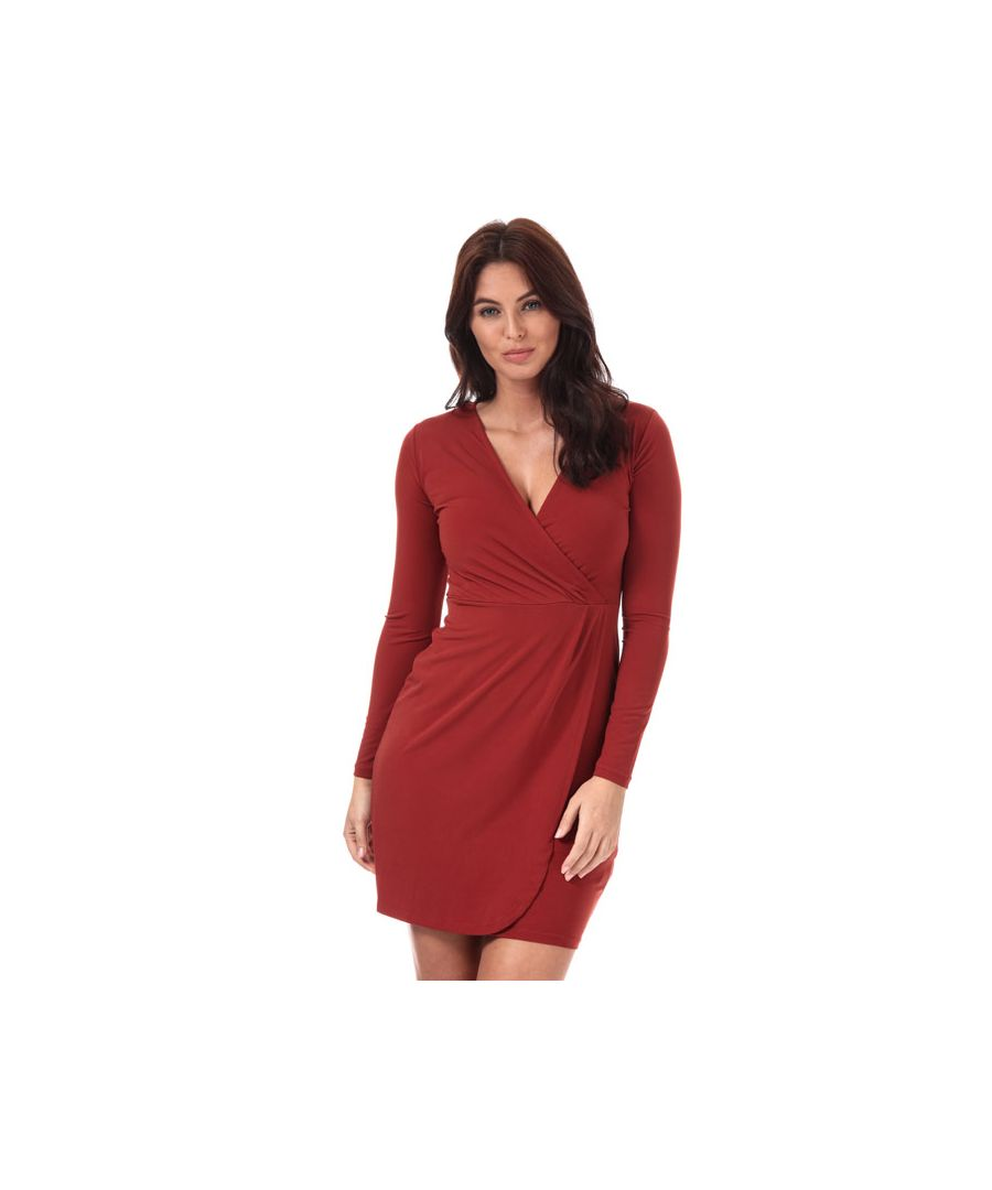 Image for Women's French Connection Long Sleeve Slinky Wrap Dress in Rust