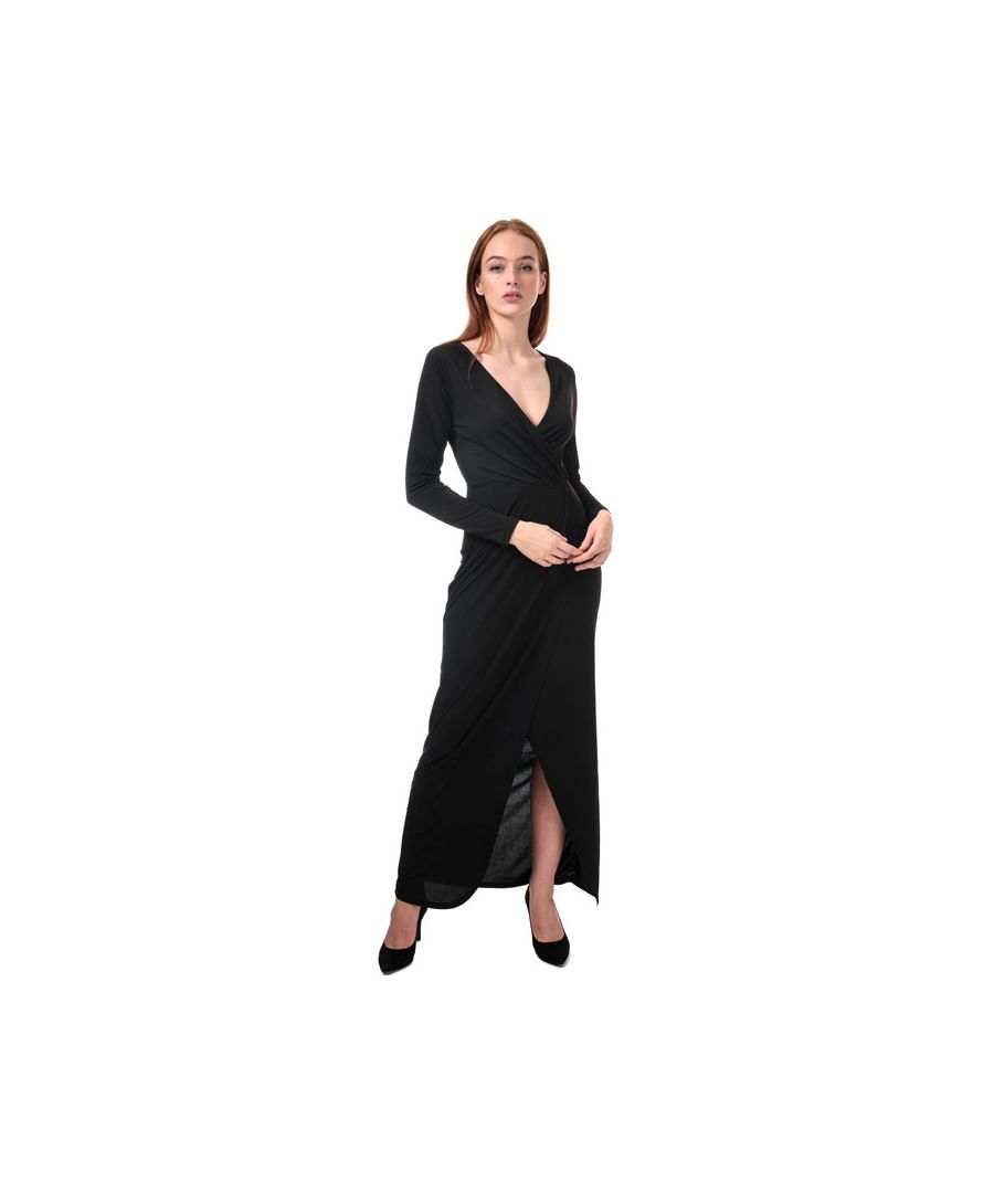 Image for Women's French Connection Long Sleeve Wrap Slinky Maxi Dress in Black