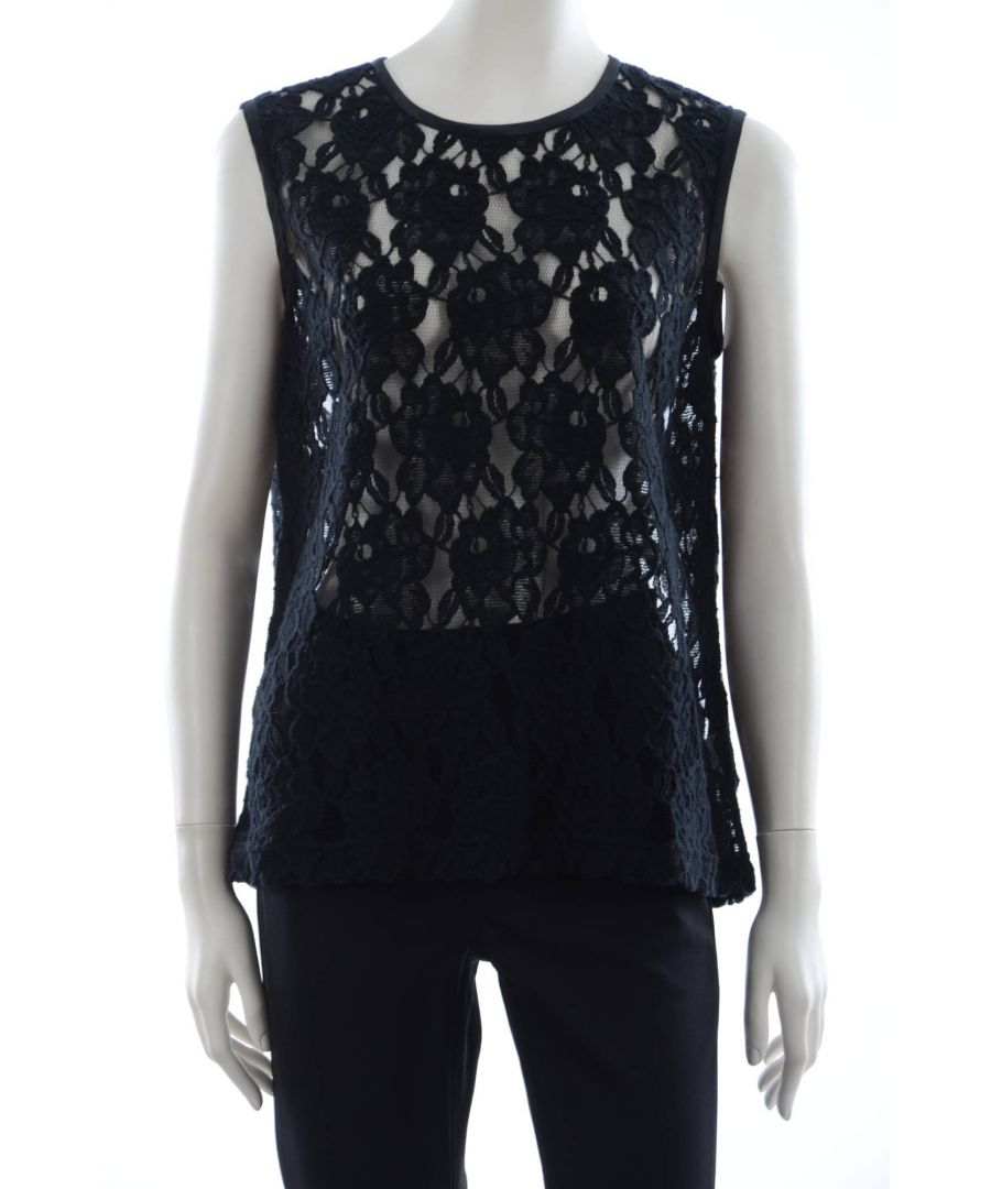 Image for Dolce & Gabbana Women's Round Neck Sleeveless Lace T-Shirt