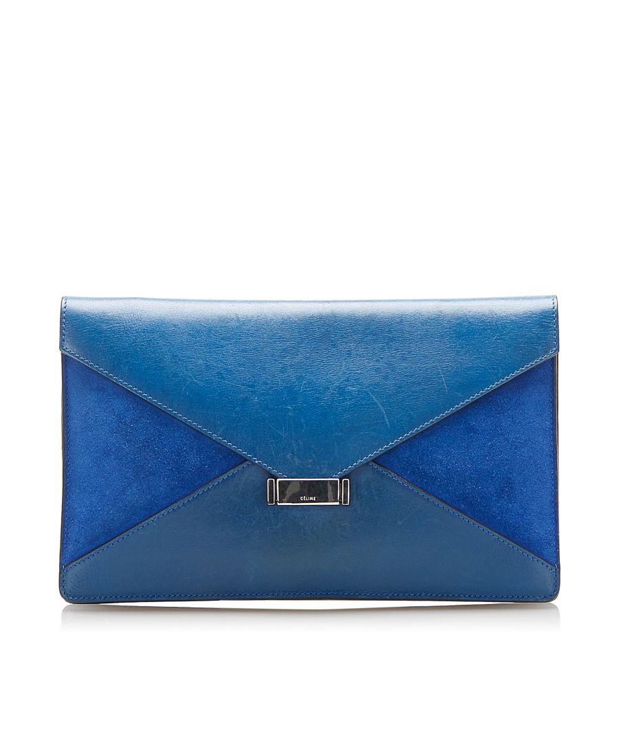 Image for Vintage Celine Diamond Leather Clutch Bag Blue