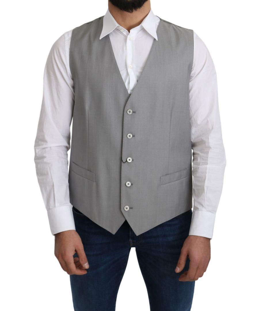 Image for Dolce & Gabbana Gray Wool Stretch Formal Waist Coat Vest