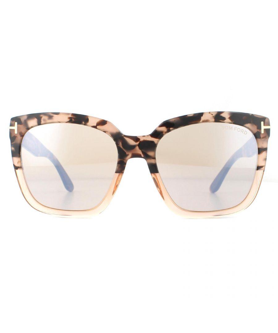 Image for Tom Ford Sunglasses Amarra FT0502 55G Pink Havana Brown Mirror