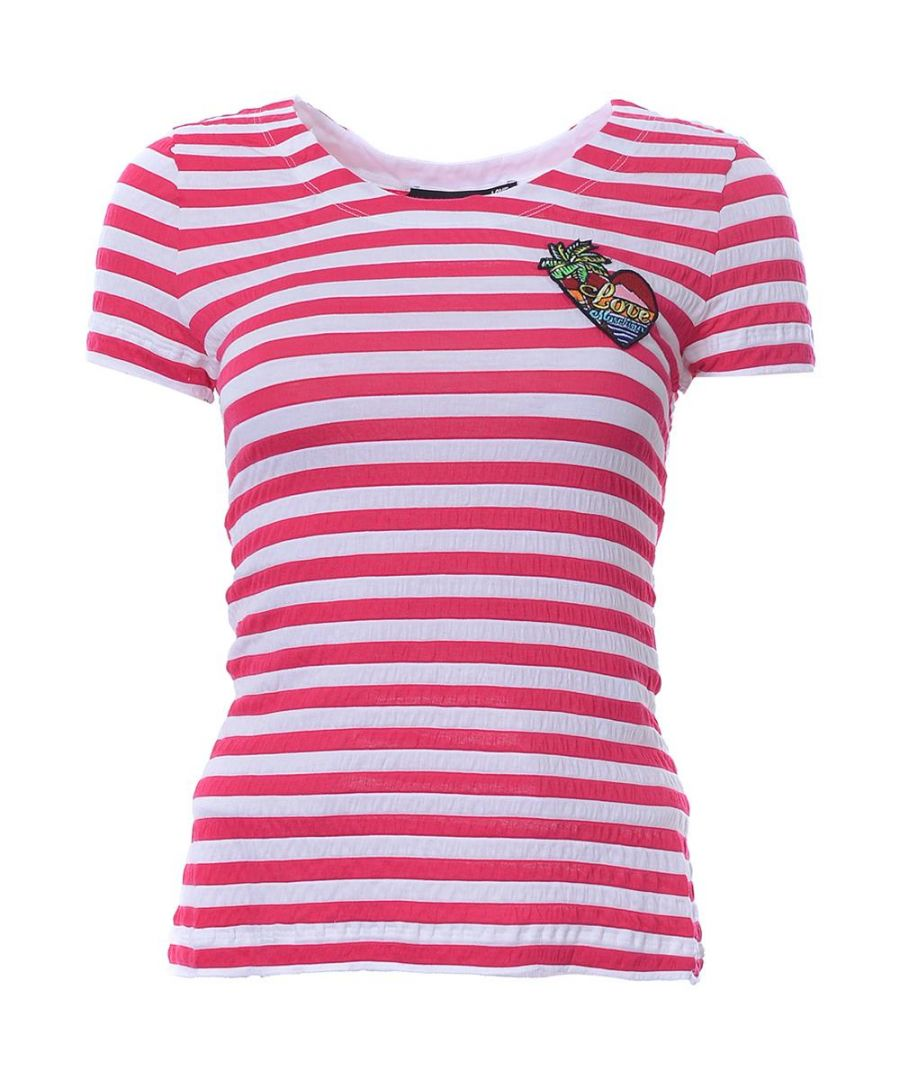 Image for Love Moschino SHORT SL. TSHIRT W/ PATCH-WHITE/FUXIA in Multicoloured