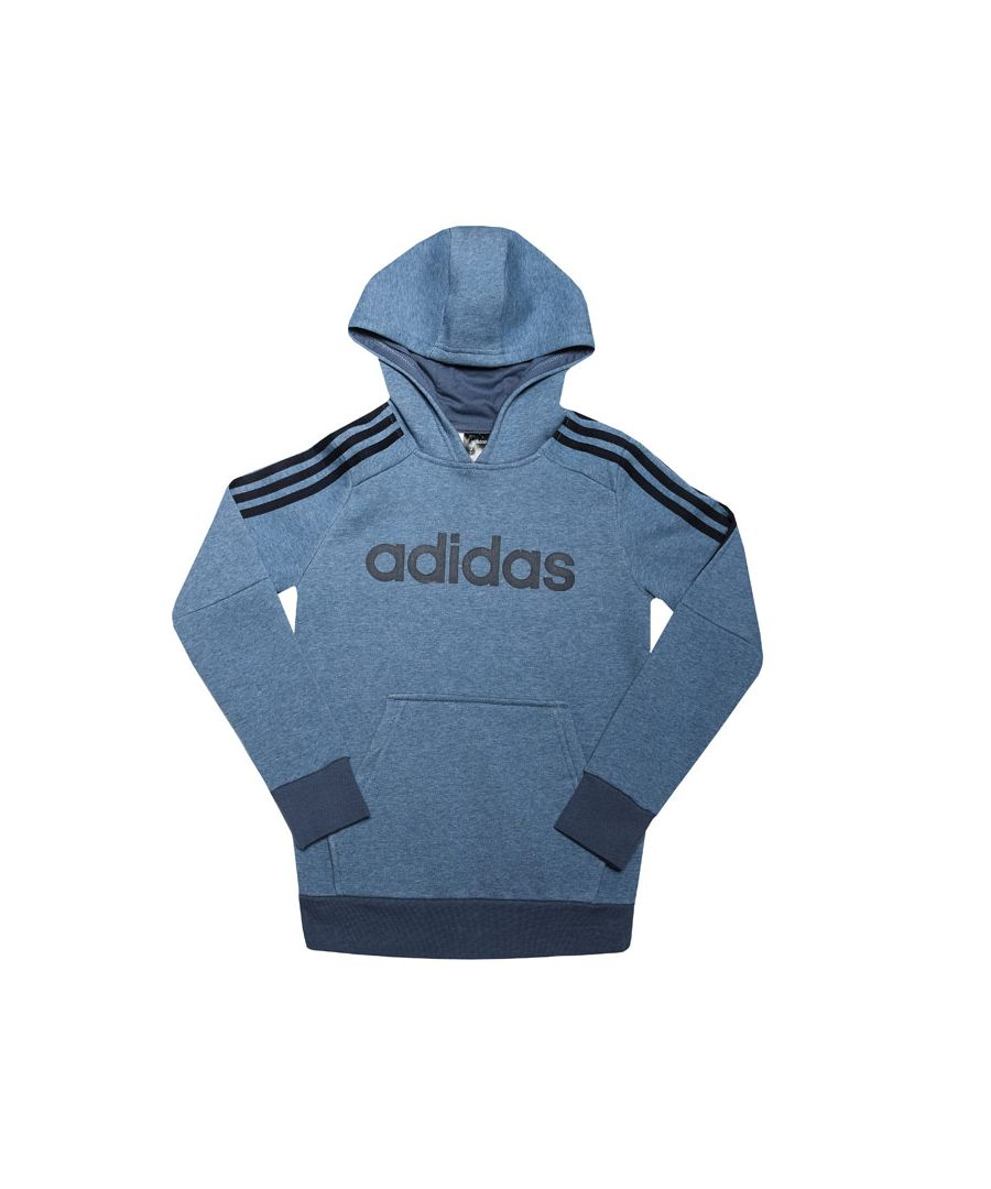 Image for Boys' adidas Junior 3-Stripes Hoodie Blue 13-14In Blue
